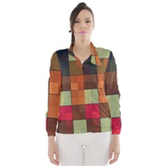 Background With Color Layered Tiling Wind Breaker (women)