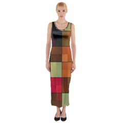 Background With Color Layered Tiling Fitted Maxi Dress