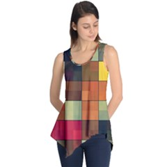 Background With Color Layered Tiling Sleeveless Tunic