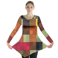 Background With Color Layered Tiling Long Sleeve Tunic