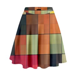 Background With Color Layered Tiling High Waist Skirt