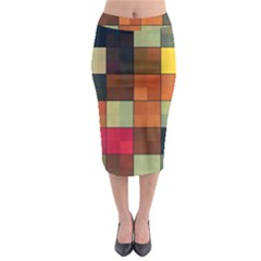 Background With Color Layered Tiling Midi Pencil Skirt