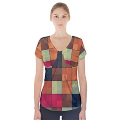 Background With Color Layered Tiling Short Sleeve Front Detail Top
