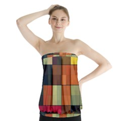 Background With Color Layered Tiling Strapless Top
