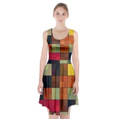 Background With Color Layered Tiling Racerback Midi Dress