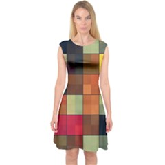 Background With Color Layered Tiling Capsleeve Midi Dress