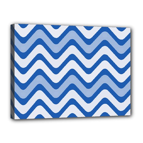 Background Of Blue Wavy Lines Canvas 16  X 12