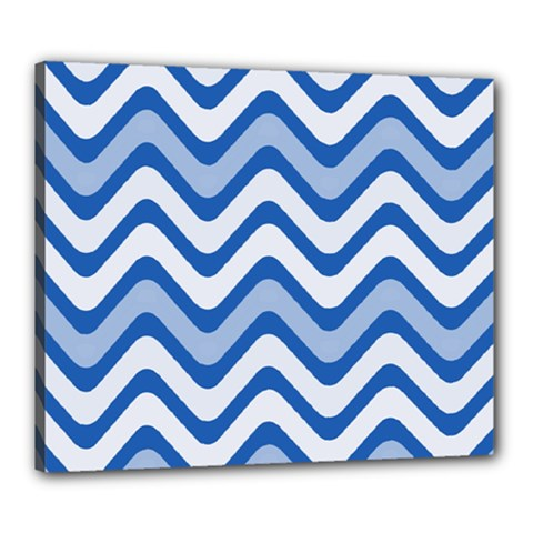 Background Of Blue Wavy Lines Canvas 24  X 20