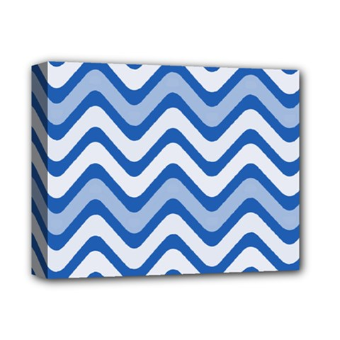 Background Of Blue Wavy Lines Deluxe Canvas 14  x 11