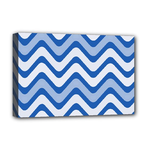 Background Of Blue Wavy Lines Deluxe Canvas 18  x 12