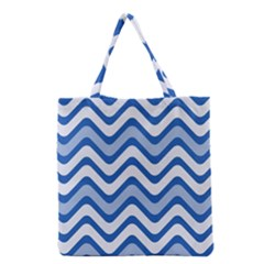 Background Of Blue Wavy Lines Grocery Tote Bag