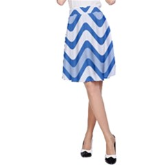 Background Of Blue Wavy Lines A-Line Skirt