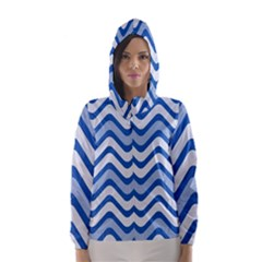 Background Of Blue Wavy Lines Hooded Wind Breaker (Women)