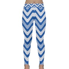 Background Of Blue Wavy Lines Classic Yoga Leggings