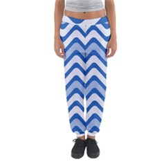 Background Of Blue Wavy Lines Women s Jogger Sweatpants