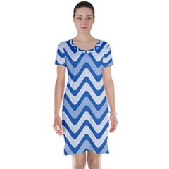 Background Of Blue Wavy Lines Short Sleeve Nightdress