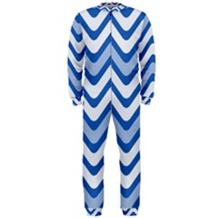 Background Of Blue Wavy Lines Onepiece Jumpsuit (men)