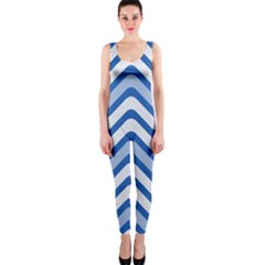 Background Of Blue Wavy Lines Onepiece Catsuit