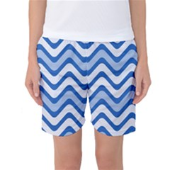 Background Of Blue Wavy Lines Women s Basketball Shorts