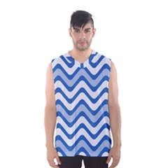 Background Of Blue Wavy Lines Men s Basketball Tank Top