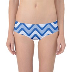 Background Of Blue Wavy Lines Classic Bikini Bottoms