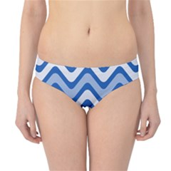 Background Of Blue Wavy Lines Hipster Bikini Bottoms
