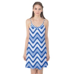 Background Of Blue Wavy Lines Camis Nightgown