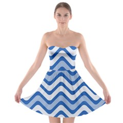 Background Of Blue Wavy Lines Strapless Bra Top Dress