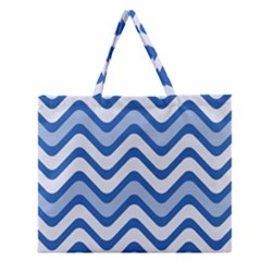 Background Of Blue Wavy Lines Zipper Large Tote Bag