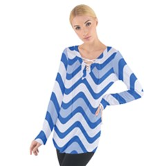 Background Of Blue Wavy Lines Women s Tie Up Tee