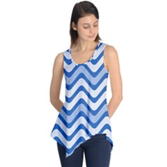 Background Of Blue Wavy Lines Sleeveless Tunic
