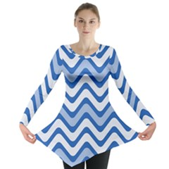 Background Of Blue Wavy Lines Long Sleeve Tunic
