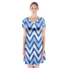 Background Of Blue Wavy Lines Short Sleeve V-neck Flare Dress