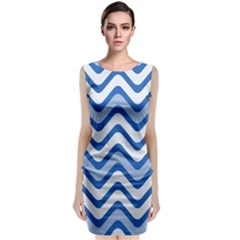 Background Of Blue Wavy Lines Classic Sleeveless Midi Dress