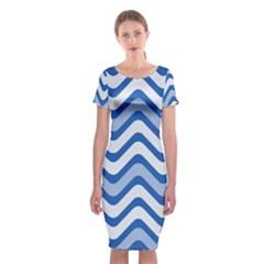 Background Of Blue Wavy Lines Classic Short Sleeve Midi Dress