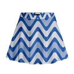 Background Of Blue Wavy Lines Mini Flare Skirt