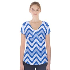 Background Of Blue Wavy Lines Short Sleeve Front Detail Top