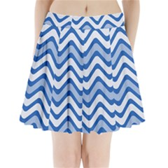 Background Of Blue Wavy Lines Pleated Mini Skirt