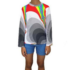 Background Image With Color Shapes Kids  Long Sleeve Swimwear