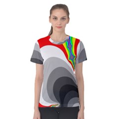 Background Image With Color Shapes Women s Cotton Tee