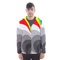 Background Image With Color Shapes Hooded Wind Breaker (men)