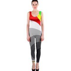 Background Image With Color Shapes OnePiece Catsuit