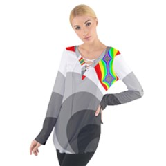 Background Image With Color Shapes Women s Tie Up Tee