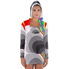 Background Image With Color Shapes Women s Long Sleeve Hooded T Shirt