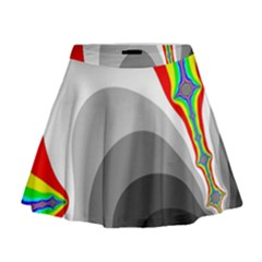 Background Image With Color Shapes Mini Flare Skirt