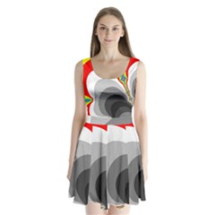 Background Image With Color Shapes Split Back Mini Dress