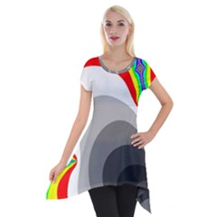 Background Image With Color Shapes Short Sleeve Side Drop Tunic