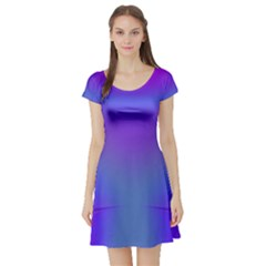 Violet Fractal Background Short Sleeve Skater Dress