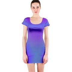 Violet Fractal Background Short Sleeve Bodycon Dress