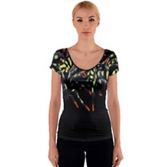 Colorful Spiders For Your Dark Halloween Projects Women s V-Neck Cap Sleeve Top